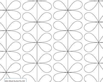 60s MOD BUTTERFLY - Longarm Quilting Digital Pattern - Edge to Edge Pantograph Handiquilter Gammill Bernina Statler Stitcher Long Arm