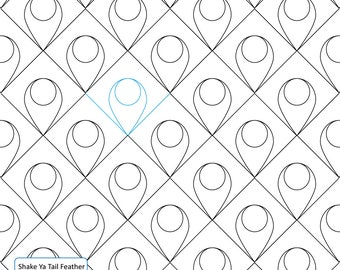 SHAKE Ya TAIL FEATHER - Longarm Quilting Digital Pattern, Pantograph Handiquilter Gammill Statler Stitcher Long Arm