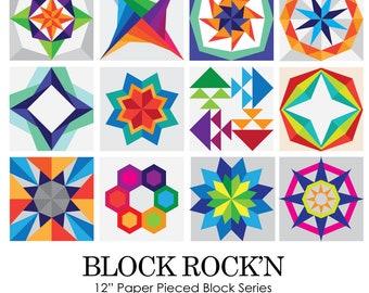ENTIRE SERIES (Read Description) Block Rock'n Series 12 Blocks Paper Piecing Pattern for Sewing or Quilt Blocks PDF Instant Download