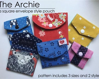 The Archie - A square, envelope style pouch. 2 styles, 3 sizes included. Instant download PDF. Great for cards, earbuds, gift cards, coins.