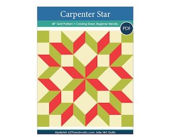 "Easy Carpenter Star Quilt Pattern + Coloring Sheet.  48"" PDF Beginner Friendly Quilt Pattern Christmas"