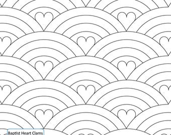 BAPTIST HEART CLAMS - Longarm Quilting Digital Pattern for Edge to Edge and Pantograph Handiquilter Gammill Statler Stitcher Bernina