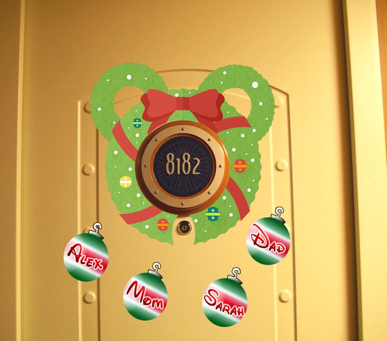 Ear Wreath Personalized Christmas Disney Cruise Door Magnet Download Use As Disney Cruise Door Decorations And Clip Art
