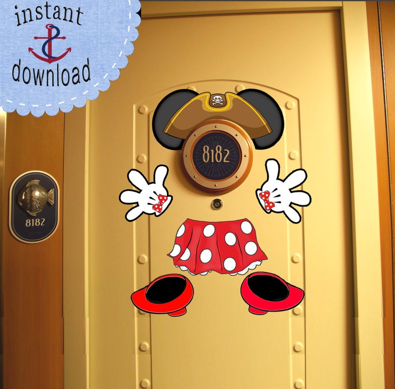 Pirate Minnie Mouse Disney Cruise Door Magnet Download Use Etsy