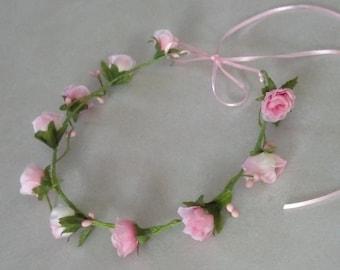 Pink little girl Floral Halos set of 2 flower Crowns hair wreath summer wedding bridal accessories headpiece baby headband photo shoot prop