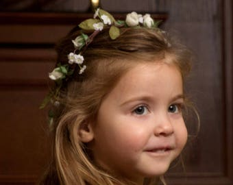 Ivory Flower Girl Halo Bridal party accessories little girl Hair Wreath First Communion Hair Wreath  headpiece woodland crown Barn Wedding