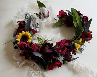 burgundy flower crown sunflower eucalyptus hair wreath foliage fall bridal circlet wedding accessories lace tie headpiece summer
