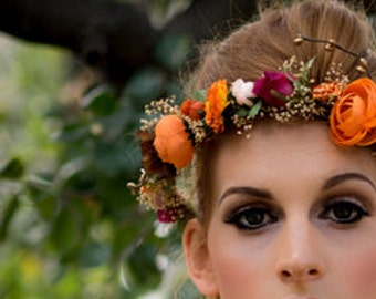 Bridal Flower Crown Destination Wedding orange  Headdress wine halo dried hair wreath headband gold berry Accessories