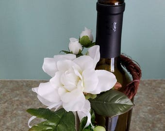 White floral Wine Bottle Toppers 2 wedding reception centerpieces by AmoreBride table decor bridal shower favors accessories party events