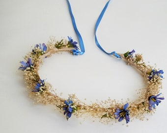 Baby breath flower crown blue halo wedding hair wreath bridal shower slate blue periwinkle headwreath accessories dried flowers