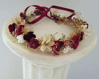 Burgundy flower crown dried hair wreath custom gold photo shoot prop garland fall winter hair wreath maroon champagne wedding accessories