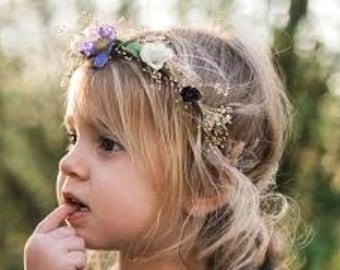 Plum dried flower crown babys breath headband wedding bridal dried floral hair wreath summer accessories fall little girl photo prop halo