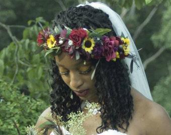 burgundy flower crown sunflower hair wreath eucalyptus foliage bridal circlet destination wedding accessories lace tie headpiece summer