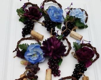 Blue Wine themed Bridal party centerpieces Bottle Toppers Set of 10 AmoreBride wedding shower favors accessories event decor