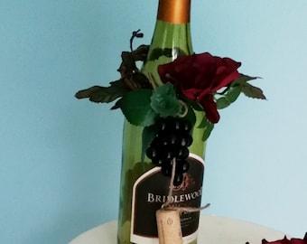 AmoreBride Bottle toppers set of 5 Wine tasting party centerpieces Burgundy black grapes corks bridal wedding shower favors accessories