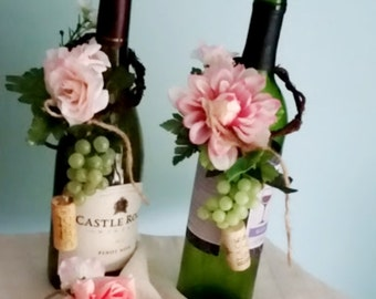 Pink Wedding Centerpieces Set of 4 Wine Bottle Toppers  Bridal Shower Favors Grapes Corks party decoration table accessories hostess gift