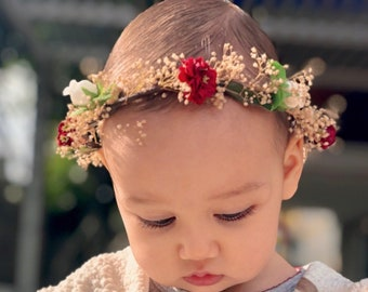 df4f86bb7f0 Easter Floral headband Baby flower crown first birthday halo photo prop  color choices pink burgundy blue dried hair wreath bridal wedding