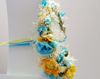 Flower crown Yellow Turquoise wedding accessories -Alice- bridal headpiece by Michele at AmoreBride original hair wreath fairy tale halo