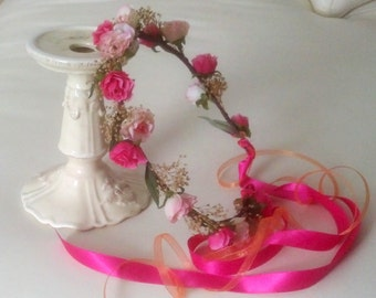 Bridal Flower crown Coral Hot Pink dried floral hair wreath destination wedding accessories boho halo flower girl Fairy circlet