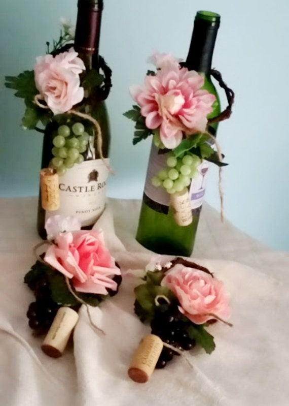Pink Wedding Centerpieces Set of 4 Wine Bottle Toppers Bridal | Etsy