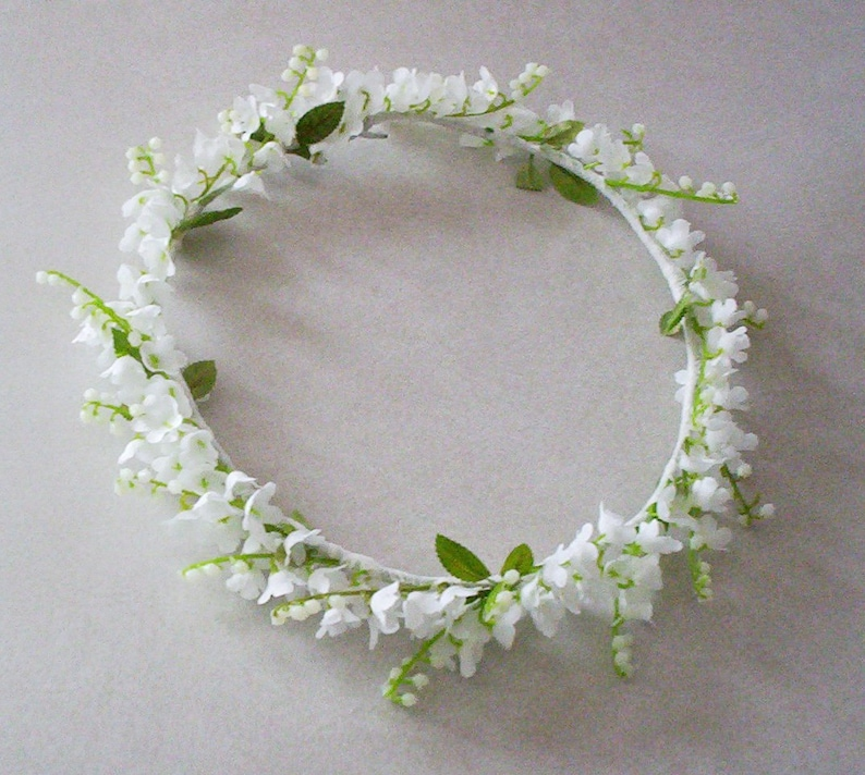 Wedding Flower Crown Lily of the Valley bridal veil  bfa7d336a0e