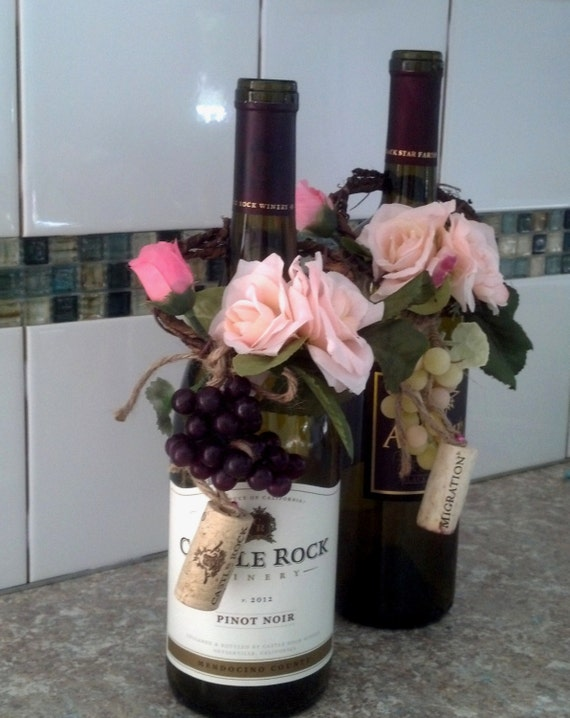 Blush Wine Theme Wedding Centerpieces Wine Bottletopper Rustic Etsy