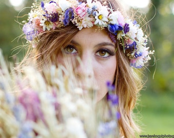 Dried Flower Bridal Crown Floral hair wreath by Michele at AmoreBride Wedding Goddess Headdress acessories pink blue artificial halo circlet
