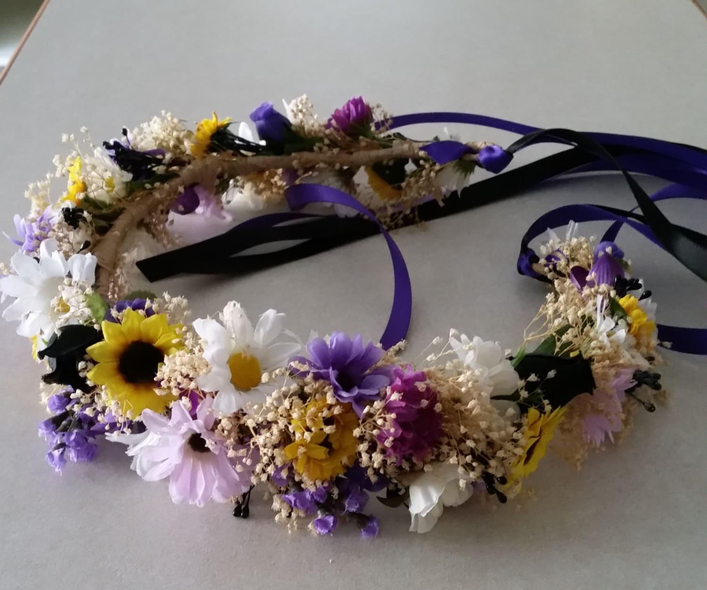 Flower Crown Purple: Black Bridal Flower Crown Mini Sunflowers Purple Dried