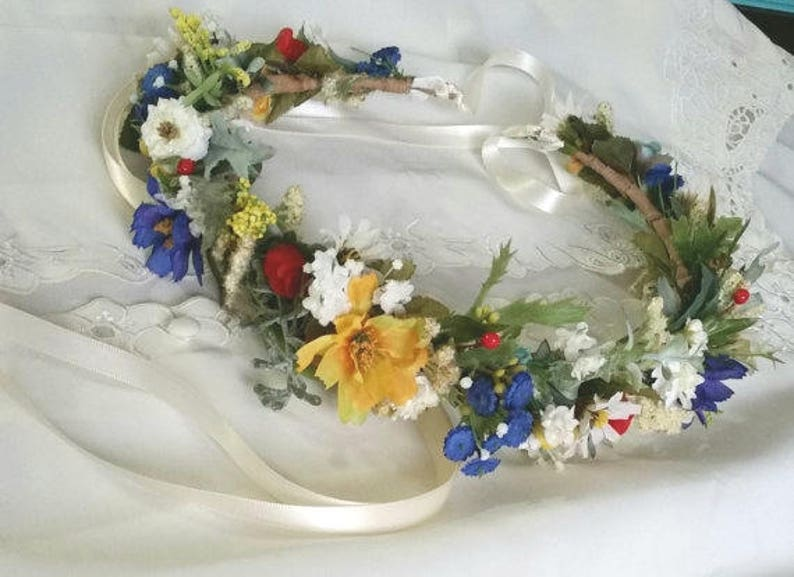 Wildflower hair wreath bridal floral headband yellow blue red Engagement photo prop wedding flower crown festival halo