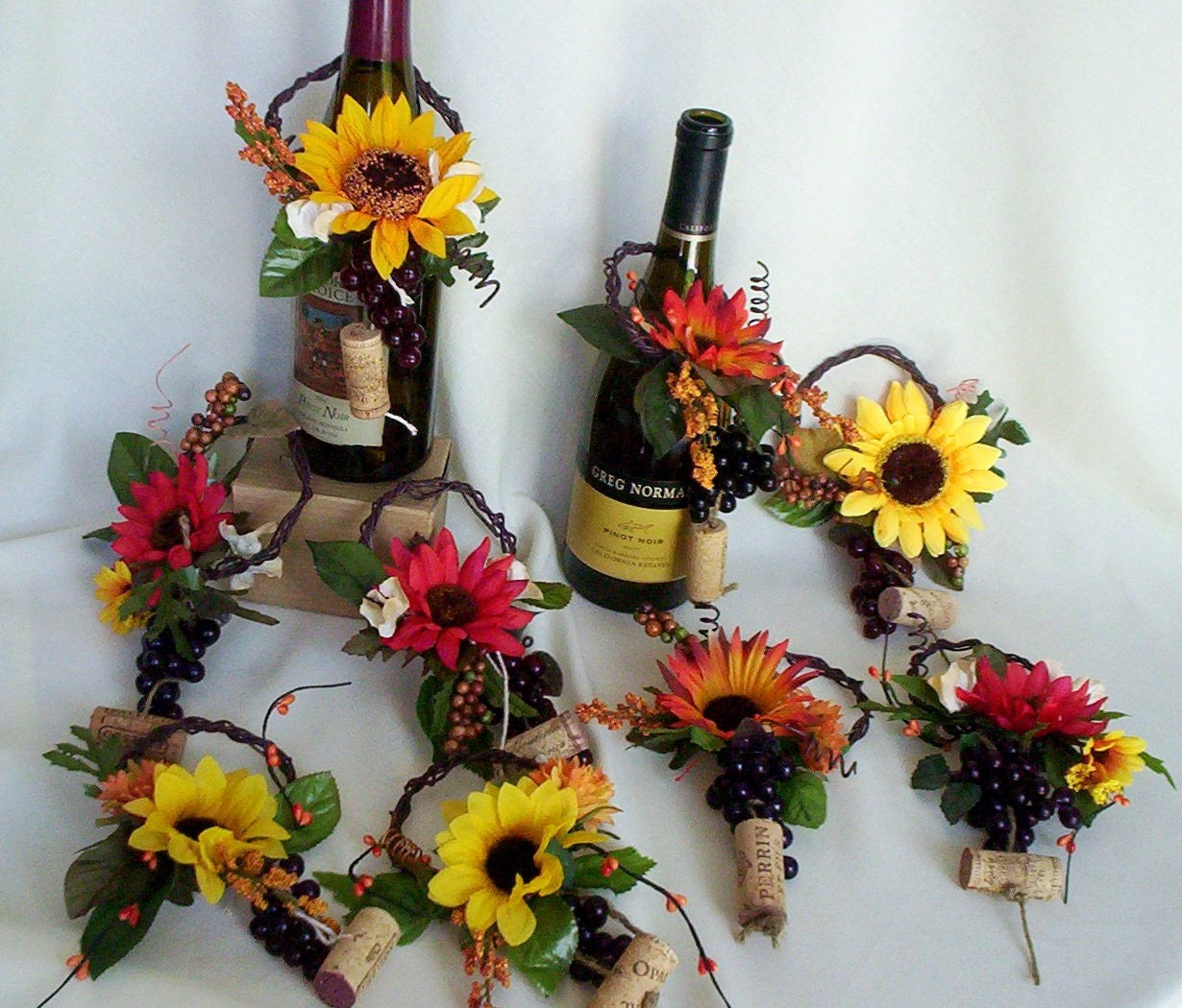 Wine Wedding: Sunflower Bridal Centerpieces Wine Toppers Home Decor Gift