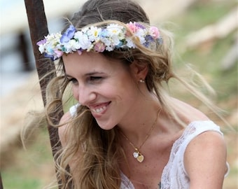 Boho Bridal Flower Crown beach hair wreath by Michele at AmoreBride Goddess destination wedding acessories pink blue halo circlet