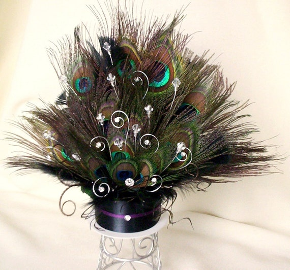 Peacock Wedding Ideas Etsy: Items Similar To Peacock Wedding Cake Topper Crystals