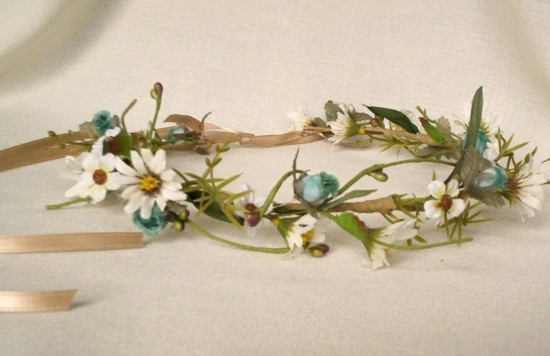 Flower Crown bridal Trends aqua blue wedding veil accessories image 0