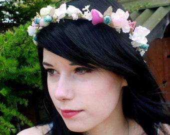 bridal headpiece, Cottage Chic Flower Crown pink Hair Wreath aqua wedding accessories, bridesmaid hair flower, headwreath floral circlet