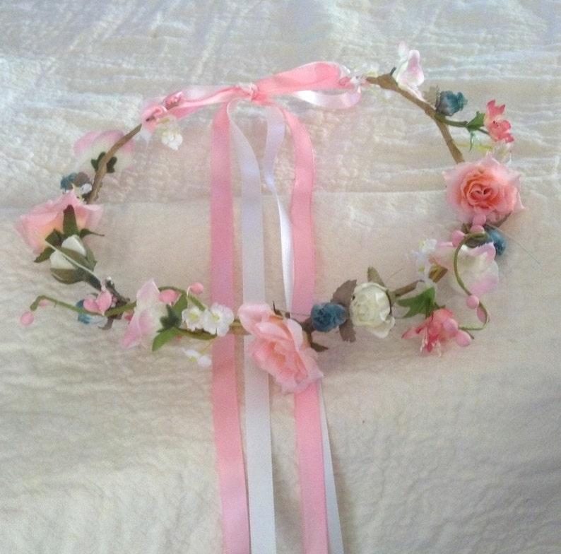 Ann-pink aqua Hair Wreath accessories Mommy and Me Boho halo Bridal hair accessories beach wedding cottage chic silk Flower Crown