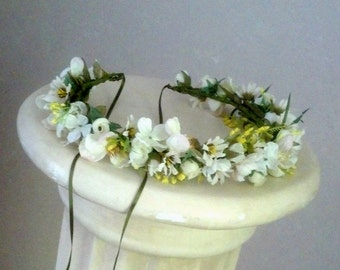 Engagement Pictures Flower crown Photo prop ivory yellow white Floral hair wreath by AmoreBride wedding bridal accessories flower girl halo