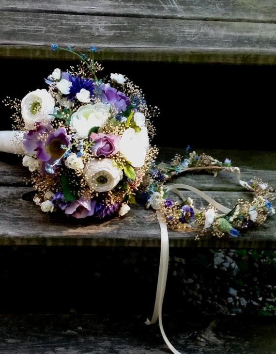 Bouquet Seche De Chardon Et Couronne De Fleurs Bleu Lavande Etsy