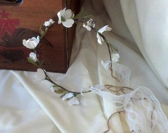 Flower Crown Unique Dogwood blooms silk floral Headwreath brown Bridal headpiece -Fiona- lace Wedding hair wreath Woodland Accessories