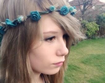 Teal Floral hair wreath bridesmaid flower crown accesories headband halo music festivals Wedding Bridal party