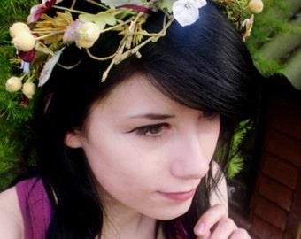 Fairy hair Wreath Flower Crown plum Pansy Rustic HeadWreath -Ellie- bridal headpiece wedding fairy costume halo Woodland Destination