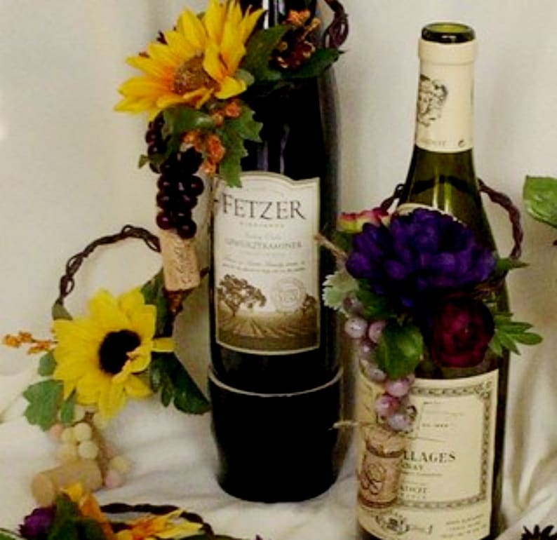 Wedding Reception Sunflower Table Centerpieces 15 Wine Bottle Etsy