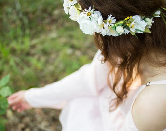 Summer Garden Bridal Flower Crown Headdress Floral hair wreath white ivory yellow by Michele at AmoreBride wedding acessories fairy halo