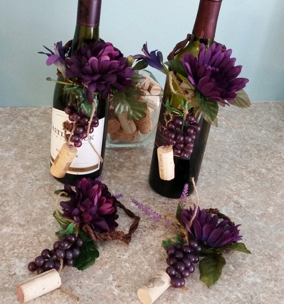 Wine Bar Kitchen Decor grape corks wine bottle toppers Centerpieces party  decor Set of 2 Wedding bridal shower tasting parties