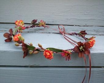 Bridal party Flower Crown Orange brown Rustic Chic Woodland hair wreath headpiece barn Wedding accesories fall Headwreath halo