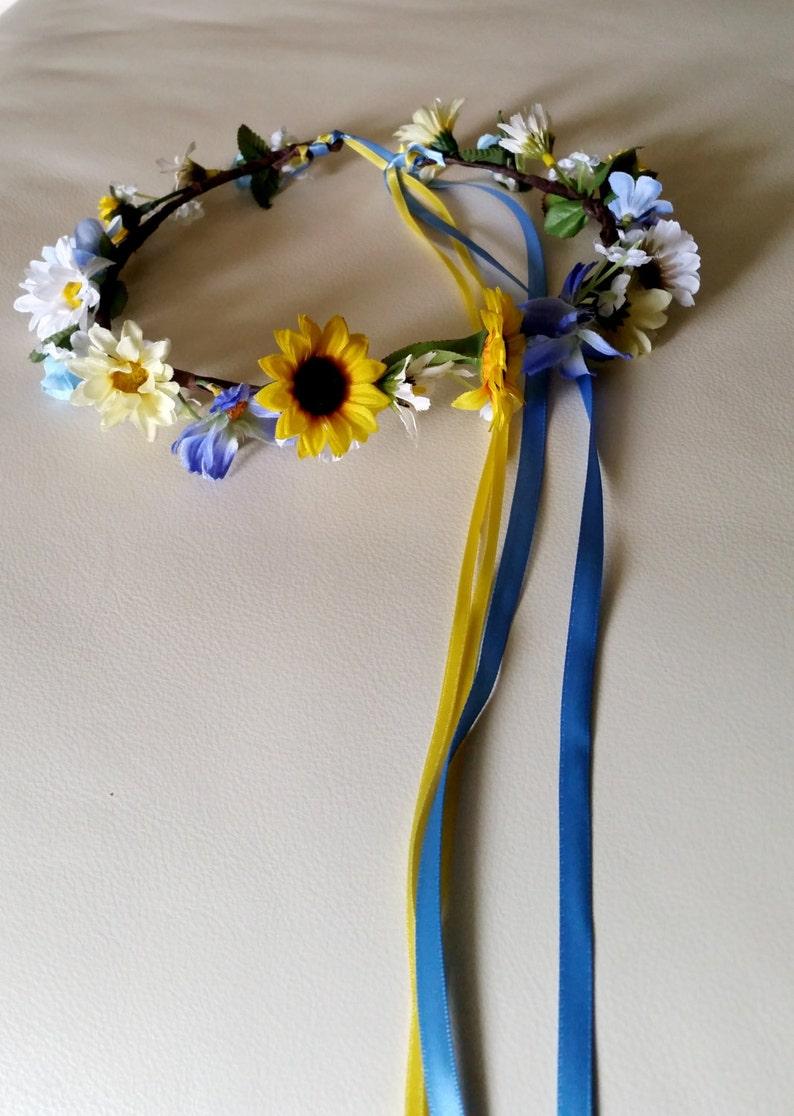silk sunflower blue hair wreath Bridal flower crown yellow wedding accessories Rustic chic Woodland ready ship flower girl halo fall circlet