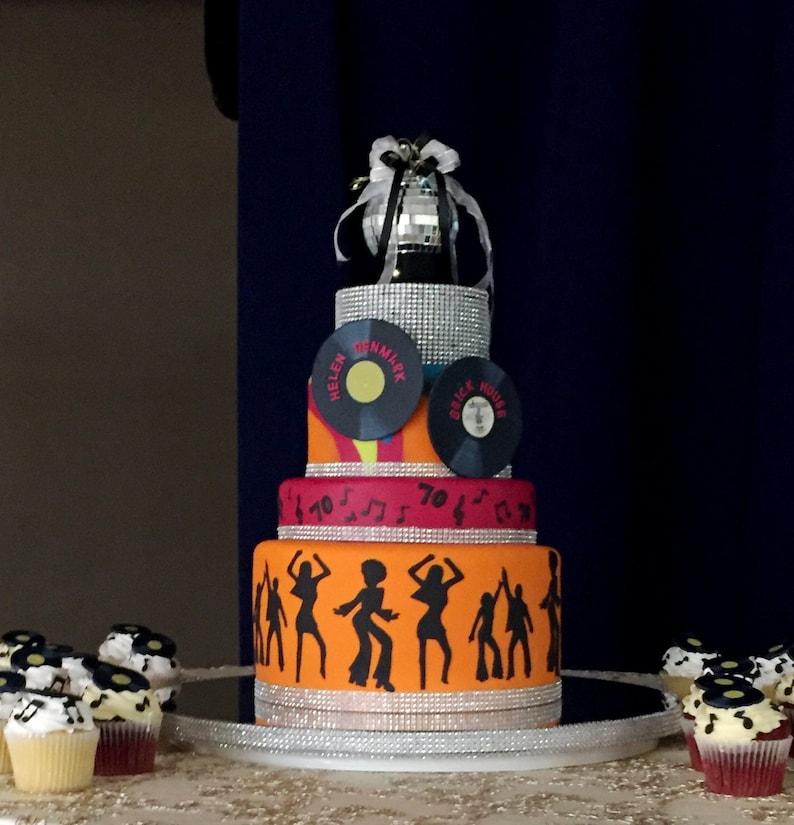 70s Birthday Cake Topper Disco Ball Silver Mirror Party
