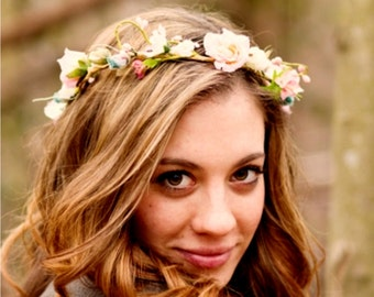 Flower crown pink aqua teal wedding accessories bridal headpiece by Michele at AmoreBride baby headband hair wreath Vintage style halo