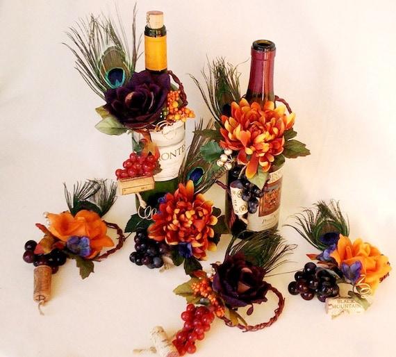 Peacock Wedding Ideas Etsy: Orange Peacock Wedding Centerpiece Unique Set Of 3 Wine