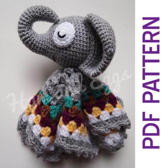 Elephant blanket crochet pattern lovey elephant amigurumi | Etsy | 570x570