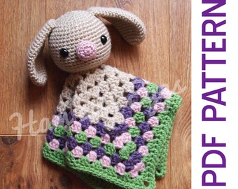 Amigurumi Woodland Bunny Rabbit Security Blanket Lovey PDF Crochet Pattern Perfect For Easter Spring Baby Shower Gifts